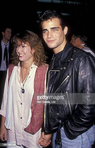 Actress Kristy McNichol and actor Brian Bloom attend the premiere of 'Bloodhounds Of Broadway' on October 30 1989 at the Director's Guild Theater in...