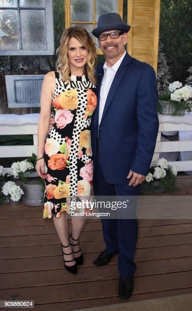Actress Kristy Swanson and husband former figure skater Lloyd Eisler visit Hallmark's Home Family at Universal Studios Hollywood on January 24 2018...