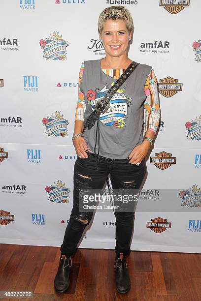 Actress Kristy Swanson arrives at the 6th annual Kiehl's LifeRide for amfAR celebration at Kiehl's Since 1851 on August 12 2015 in Santa Monica...