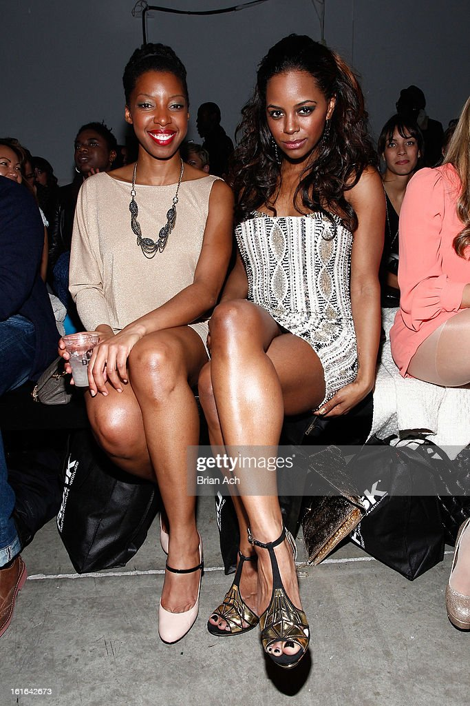 Actress Krystal Joy Brown (R) attends Nolcha Fashion Week New York 2013 presented by RUSK at Pier 59 Studios on February 13, 2013 in New York City.