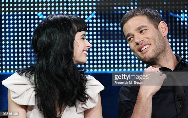 """Actress Krysten Ritter and actor Ivan Sergei of the television show """"Gravity"""" speak during the Starz Network portion of The 2010 Winter TCA Press..."""