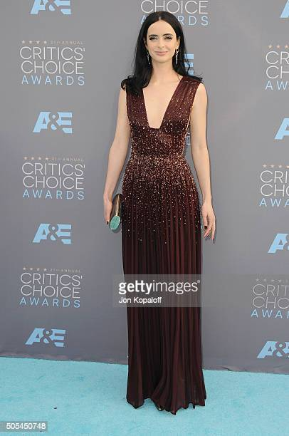 Actress Krysten Ritter arrives at The 21st Annual Critics' Choice Awards at Barker Hangar on January 17 2016 in Santa Monica California