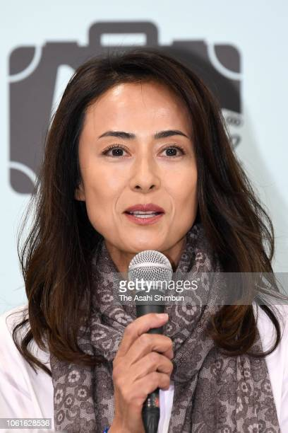 Actress Kumiko Goto attends the movie series 'Otokowatsuraiyo' new film press conference on October 31 2018 in Tokyo Japan
