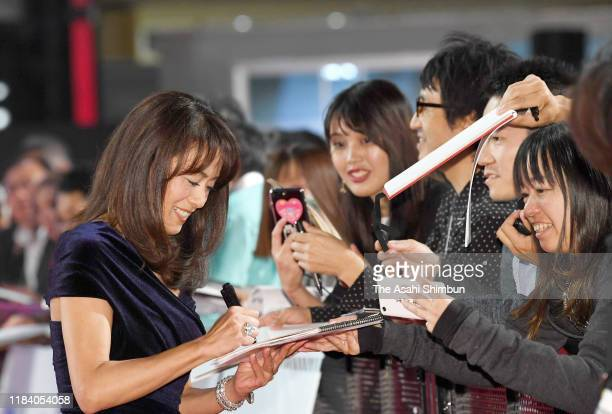 Actress Kumiko Goto signs autographs for fans at the opening ceremony of Tokyo International Film Festival 2019 at Roppongi Hills on October 28 2019...
