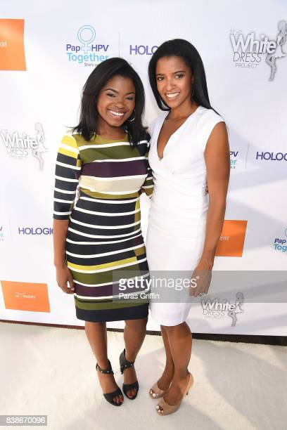 Actress Kyanna Simone Simpson and Renee Elise Goldsberry actress at 'The Immortal Life Of Henrietta Lacks' Viewing Panel Discussion with Renee Elise...