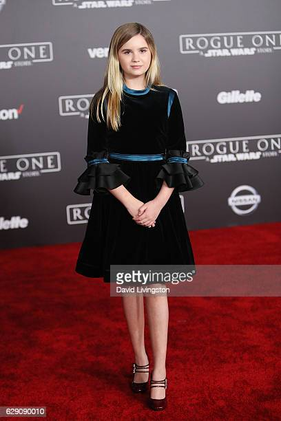 Actress Kyla Kenedy arrives at the premiere of Walt Disney Pictures and Lucasfilm's Rogue One A Star Wars Story at the Pantages Theatre on December...