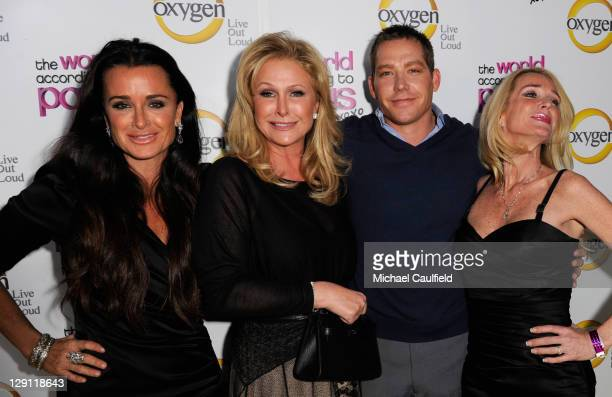 Actress Kyle Richards Kathy Hilton Cy Waits and actress Kim Richards arrive at the premiere of Oxygen's new docuseries The World According to Paris...
