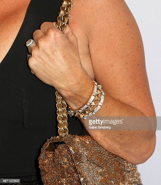 Actress Kyle Richards ring bracelet detail arrives at the One Night For ONE DROP blue carpet event at 1 OAK Nightclub at The Mirage Hotel Casino on...