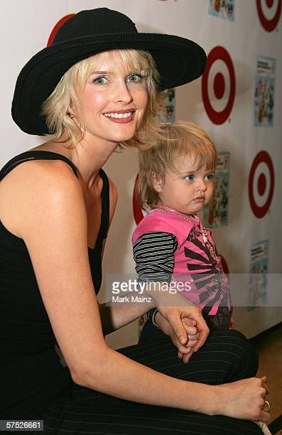 Actress Kylie Bax and her son Spiros Poros attends the party to celebrate Jane Buckingham's new novel at the Beverly Wilshire Hotel on May 3 2006 in...