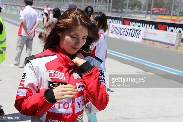 Actress Kylie Padilla before the race start of the Vios Cup Second Seasons Celebrity Car Race in Clark International Speed Way at Pampanga Ms Beranda...