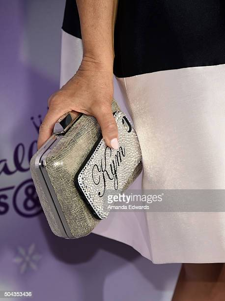 Actress Kym Douglas clutch and phone detail arrives at the Hallmark Channel and Hallmark Movies and Mysteries Winter 2016 TCA Press Tour at...
