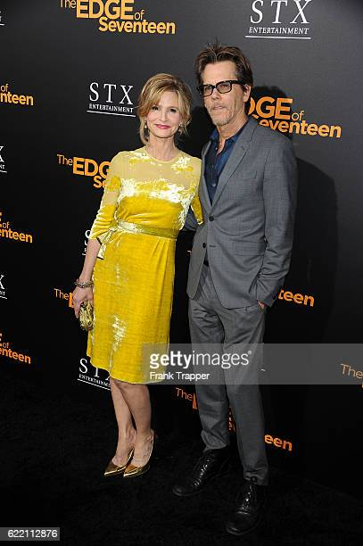 Actress Kyra Sedgwick and actor/ husband Kevin Bacon attend the screening of STX Entertainment's The Edge of Seventeen held at Regal LA Live Stadium...
