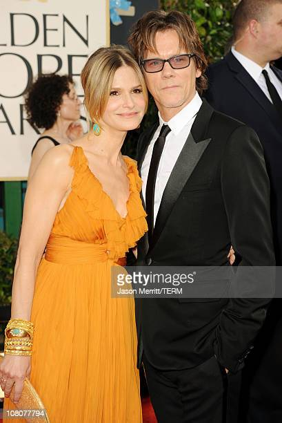 Actress Kyra Sedgwick and actor Kevin Bacon arrive at the 68th Annual Golden Globe Awards held at The Beverly Hilton hotel on January 16 2011 in...
