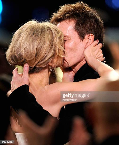 Actress Kyra Sedgwick and actor Kevin Bacon kiss at the 16th Annual Screen Actors Guild Awards held at the Shrine Auditorium on January 23 2010 in...