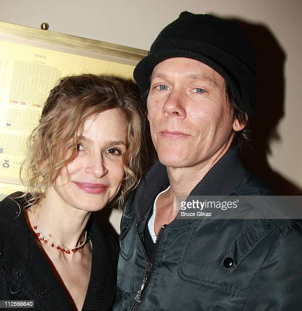 Actress Kyra Sedgwick and husband Actor Kevin Bacon pose as they arrive at the Harold Pinter play 'The Homecoming' at The Cort Theater on February 27...