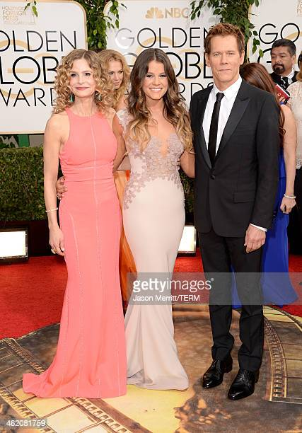 Actress Kyra Sedgwick Miss Golden Globe Sosie Bacon and actor Kevin Bacon attend the 71st Annual Golden Globe Awards held at The Beverly Hilton Hotel...