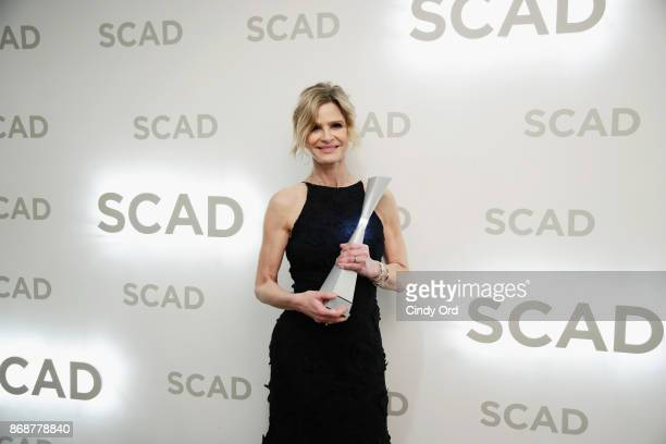 Actress Kyra Sedgwick poses with Spotlight Award backstage at Trustees Theater during 20th Anniversary SCAD Savannah Film Festival on October 31,...