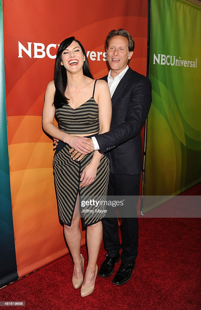 Actress Kyra Zagorsky (L) and actor Steven Weber attend the NBCUniversal 2015 Press Tour at the Langham Huntington Hotel on January 15, 2015 in Pasadena, California.