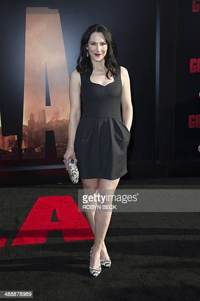 Actress Kyra Zagorsky arrives for the Los Angeles movie premiere of 'Godzilla' on May 8 2014 at the Dolby Theatre in Hollywood California AFP PHOTO /...