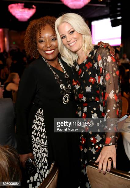 Actress L Scott Caldwell and The Crystal Award for Excellence in Film Honoree Elizabeth Banks wearing Max Mara attend the Women In Film 2017 Crystal...