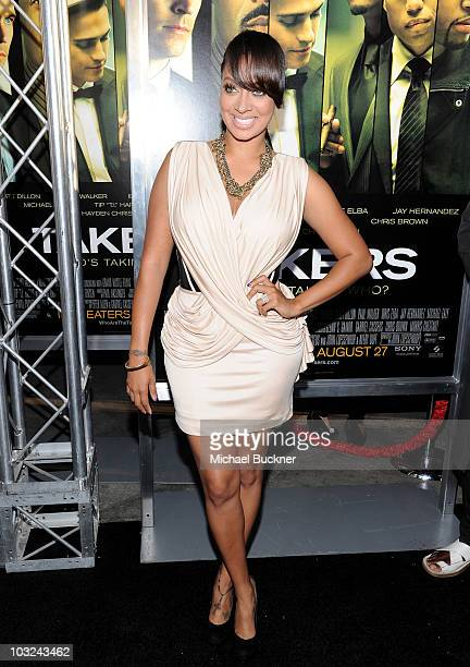 Actress La La arrives at the premiere of Screen Gems' 'Takers' at the Arclight Cinerama Dome on August 4 2010 in Hollywood California