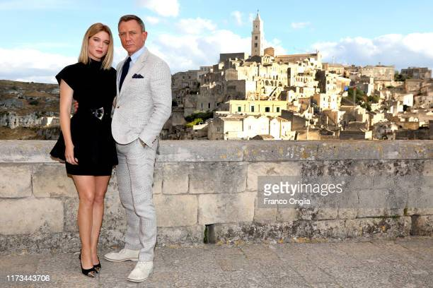 Actress Léa Seydoux and actor Daniel Craig pose as they arrive on set of the James Bond last movie No Time To Die on September 09 2019 in Matera Italy