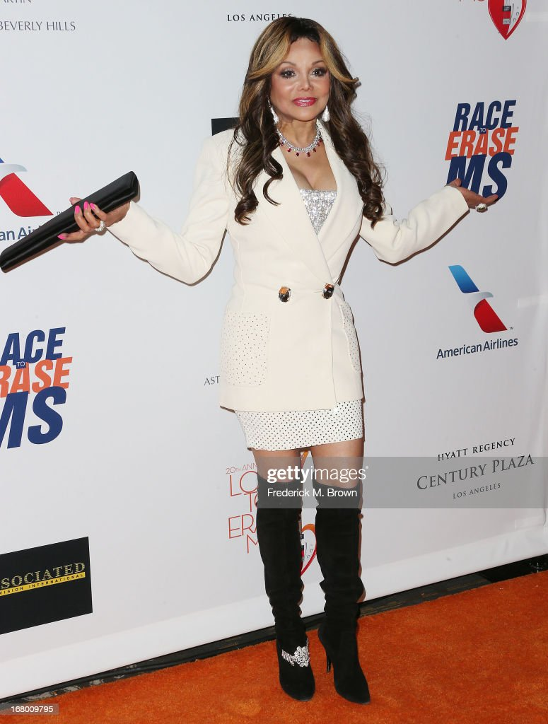 Actress La Toya Jackson attends the 20th Annual Race to Erase MS Gala 'Love to Erase MS' at the Hyatt Regency Century Plaza on May 3, 2013 in Century City, California.