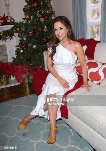Lacey Chabert Debbie Matenopoulos and Cameron Mathison on the set of Hallmark's 'Home Family' celebrating 'Christmas In July' at Universal Studios...