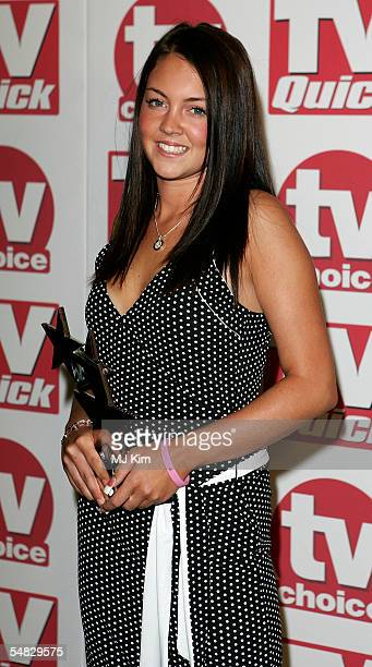 Actress Lacey Turner poses with her award for 'Best Soap Newcomer' for her role as Stacey Slater in Eastenders at the TV Quick and TV Choice Awards...