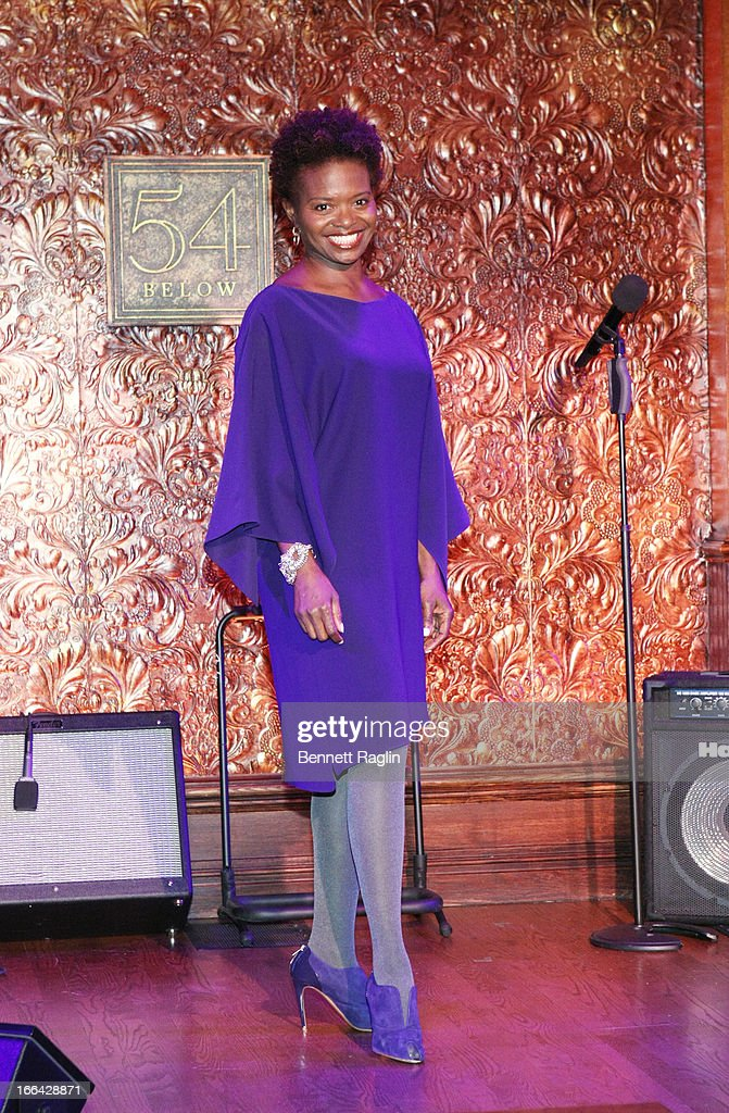 Actress Lachanze attends the Press Preview at 54 Below on April 12, 2013 in New York City.