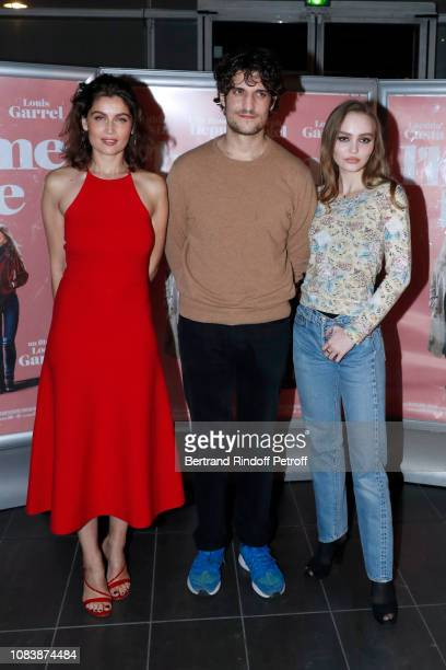 """Actress Laetitia Casta, director Louis Garrel and actress Lily-Rose Depp attend """"L'Homme Fidele"""" : Paris Premiere at Mk2 Bibliotheque on December 17,..."""