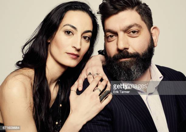 Actress Laetitia Eido and director Shady Srour from 'Holy Air' pose at the 2017 Tribeca Film Festival portrait studio on April 22 2017 in New York...