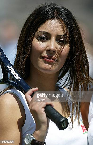 Actress Laila Rouass poses for photographers at the Ariel Celebrity Tennis Match held in Trafalgar Square on June 13 2005 in London England