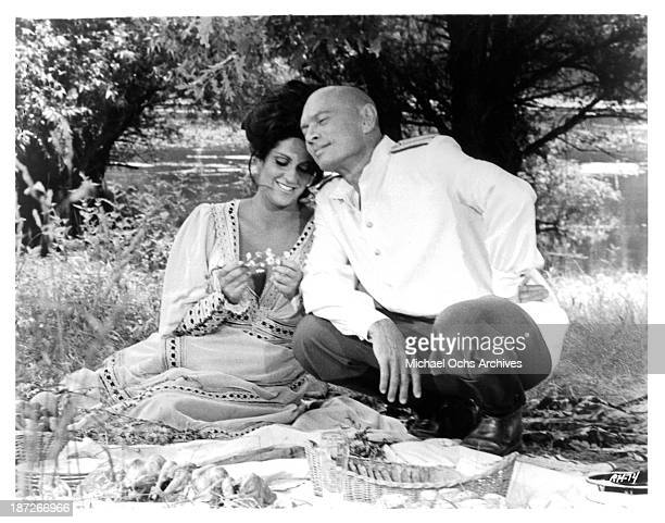 Actress Lainie Kazan and actor Yul Brynner on set of the movie Romance of a Horsethief in 1971