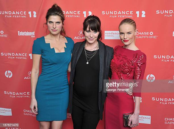 Actress Lake Bell director Katie Aselton and actress Kate Bosworth arrive at the Black Rock Premiere during the 2012 Sundance Film Festival at...