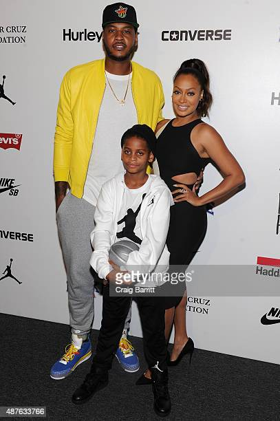 Actress LaLa Anthony New York Knicks Carmelo Anthony and son Kiyan Anthony attend the Nike/Levi's Kids Rock fashion show during Spring 2016 New York...