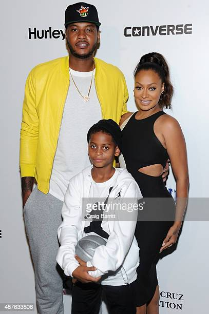 TV personality Lala Anthony New York Knicks Carmelo Anthony and son Kiyan Anthony attend the Nike/Levi's Kids Rock fashion show during Spring 2016...