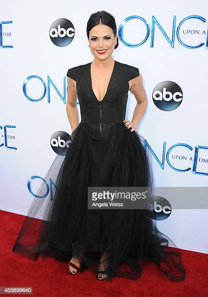 """Actress Lana Parrilla attends ABC's """"Once Upon A Time"""" Season 4 red carpet premiere at the El Capitan Theatre on September 21, 2014 in Hollywood,..."""