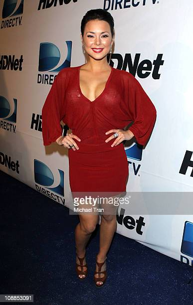 Actress Lana Tailor arrives at Super Bowl Party hosted by DIRECTV and Mark Cuban's HDNet at Victory Park on February 5 2011 in Dallas Texas