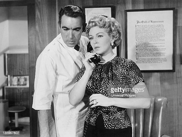 Actress Lana Turner and actor Anthony Quinn star in the Ross Hunter film 'Portrait in Black' 1960