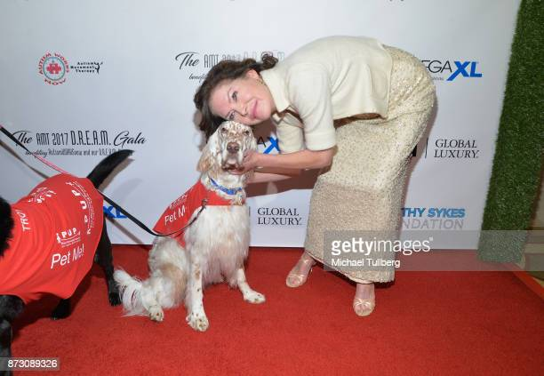 Actress Lara Flynn Boyle and furry friend attend AMT's 2017 DREAM Gala at Montage Beverly Hills on November 11 2017 in Beverly Hills California