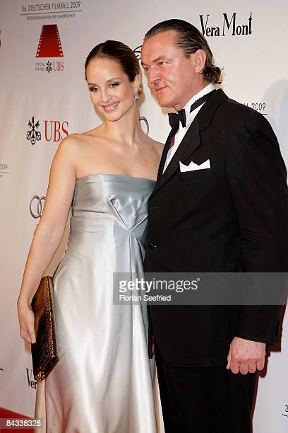 Actress Lara Joy Koerner and husband Heiner Pollert arrive at the 36th German Film Ball 2009 at the Hotel Bayerischer Hof on January 17 2009 in...