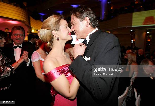 Actress Lara Joy Koerner and husband Heiner Pollert dance at the 37th German Filmball 2010 at the Hotel Bayerischer Hof on January 16 2010 in Munich...