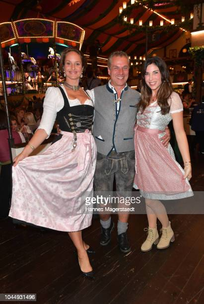 Actress Lara Joy Koerner Hendrik Hay and Alexandra PolzinLeinauer during the Welt der Wunder Wiesn as part of the Oktoberfest 2018 at Marstall tent...
