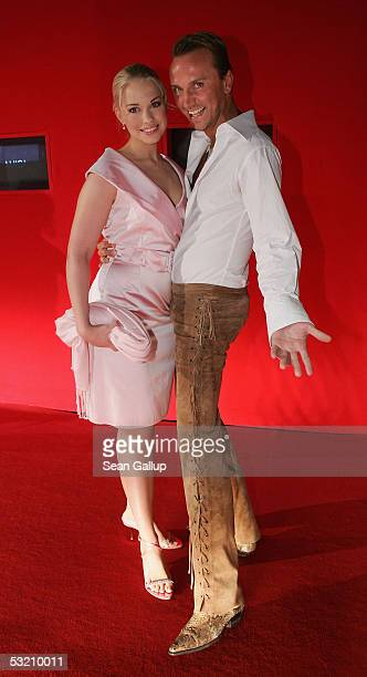 Actress LaraIsabelle Rentinck and actor Hubertus Regout arrive at the New Faces Awards July 7 2005 at Berlin Congress Center in Berlin Germany