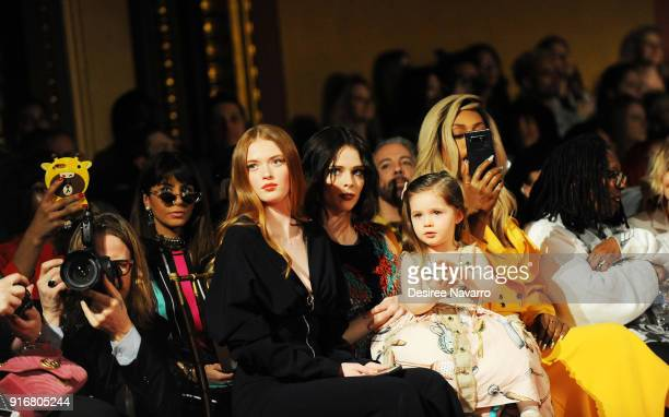 Actress Larsen Thompson Coco Rocha with her daughter Ioni James Conran Laverne Cox and Whoopi Goldberg attend the Christian Siriano fashion show...