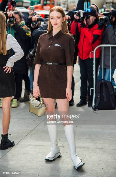 Actress Larsen Thompson is seen arriving to the Longchamp Fall/Winter 2020 Runway Show at Hudson Commons on February 08 2020 in New York City