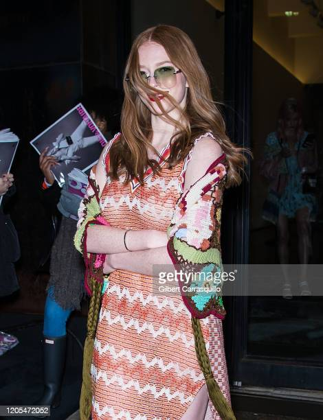 Actress Larsen Thompson is seen leaving the Anna Sui AW/20 Fashion Show during New York Fashion Week at Spring Studios on February 10 2020 in New...