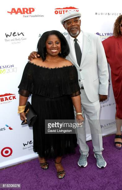 Actress LaTanya Richardson and actor Samuel L Jackson attend the 19th Annual DesignCare 2017 at Private Residence on July 15 2017 in Pacific...