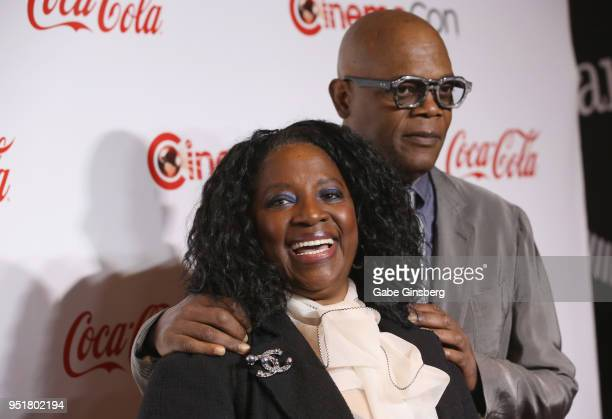 Actress LaTanya Richardson and her husband recipient of the Cinema Icon Award actor Samuel L Jackson attend the CinemaCon Big Screen Achievement...